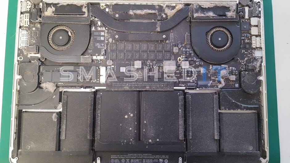 dirty MacBook before service